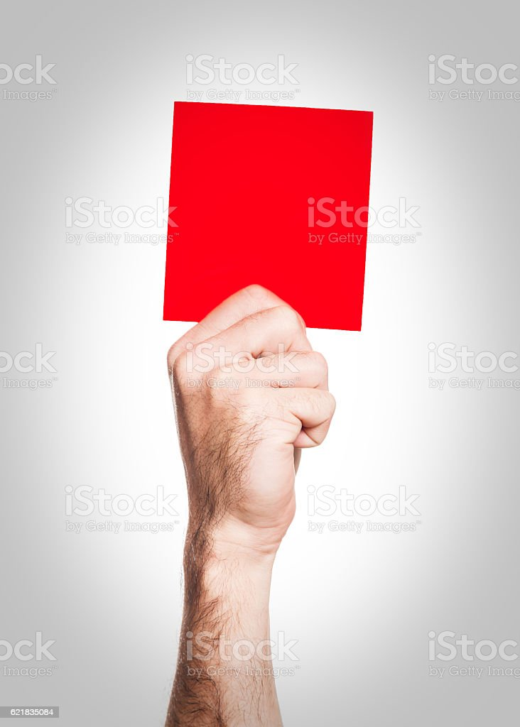 Red card isolated on a white background stock photo