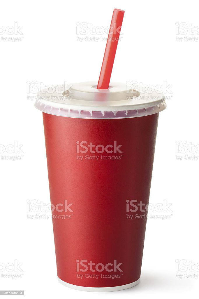 Red cardboard cup with a straw stock photo