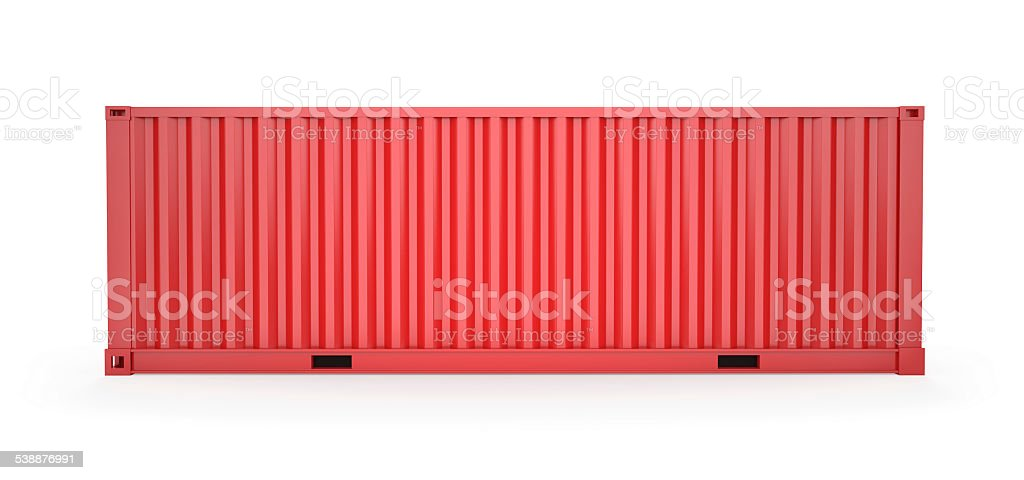 Red Cargo Container, Clipping Path stock photo