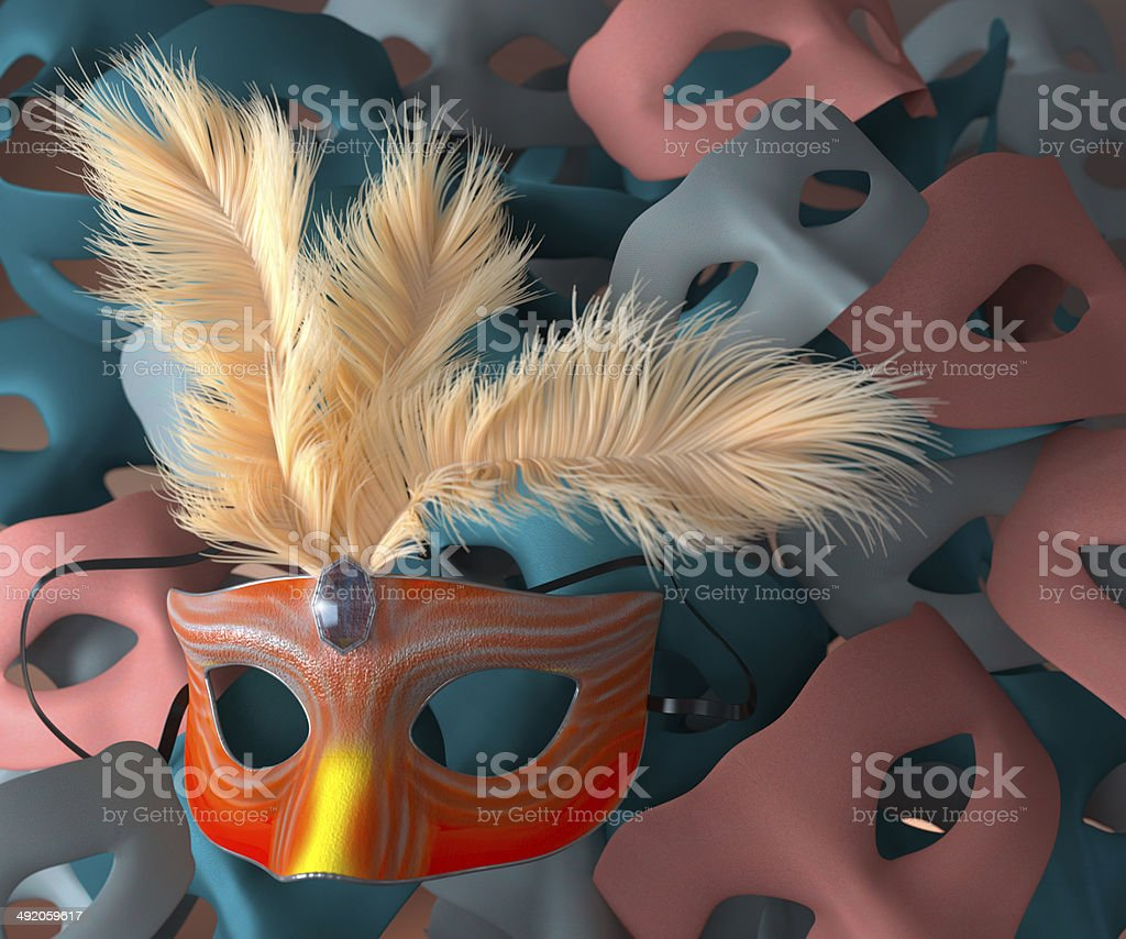 Red carnival mask with feathers stock photo