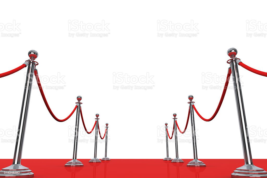 Red Carpet and Barrier Rope. 3d Rendering stock photo
