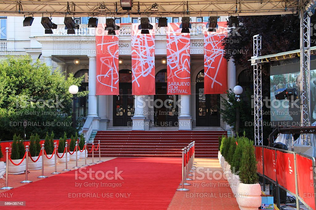 Red carpet and main entrance of Sarajevo Film Festival stock photo