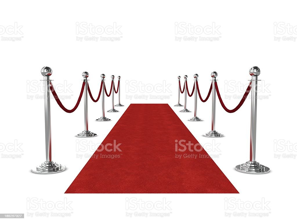 Red carpet and ropes isolated on white background stock photo