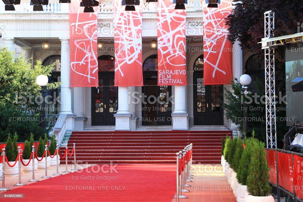 Red carpet and the main entrance of the Sarajevo Film Festival in Sarajevo stock photo
