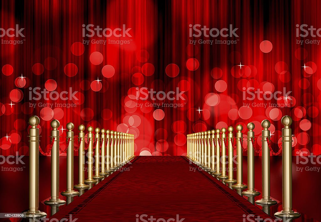 red carpet entrance with Light Burst over curtain stock photo