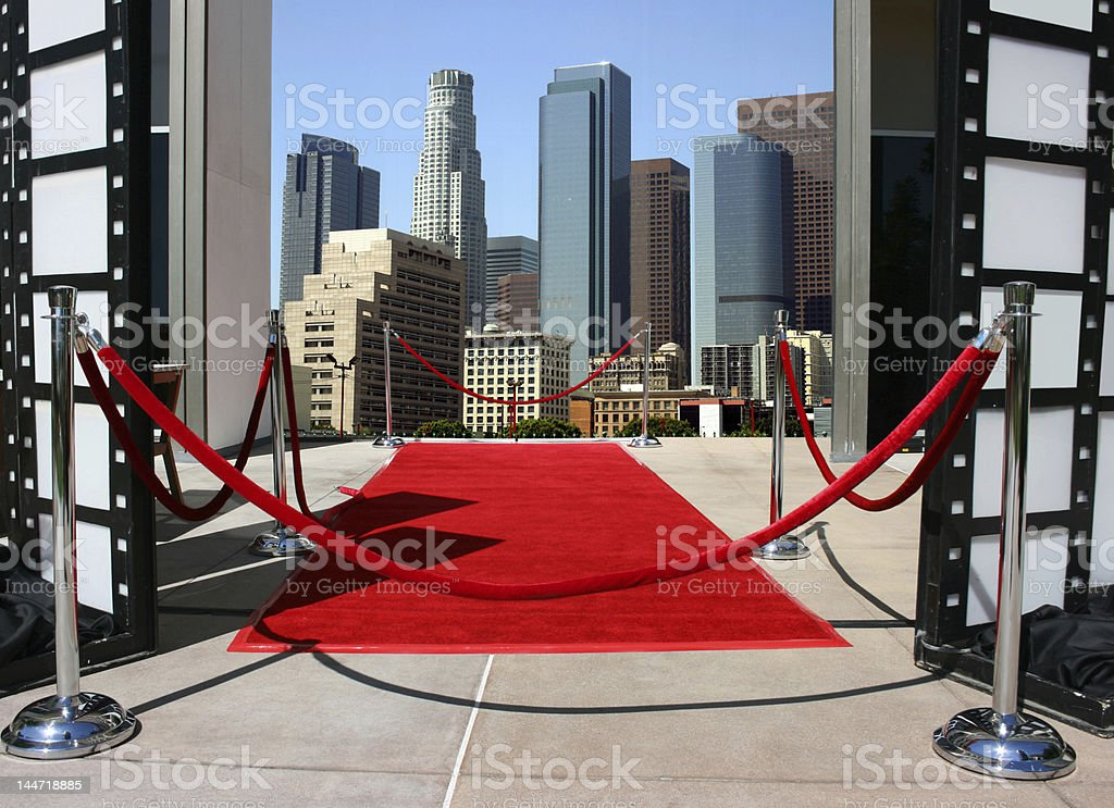 Red carpet event in Los Angeles downtown stock photo