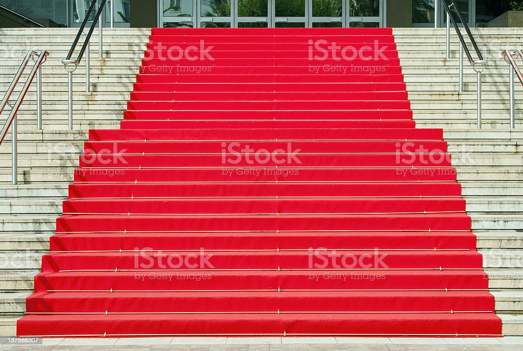 Red carpet in Cannes stock photo
