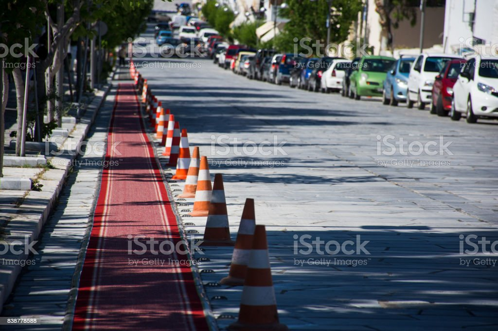Red carpet in Tinos stock photo