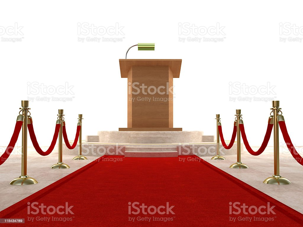 Red carpet leading to the podium stock photo