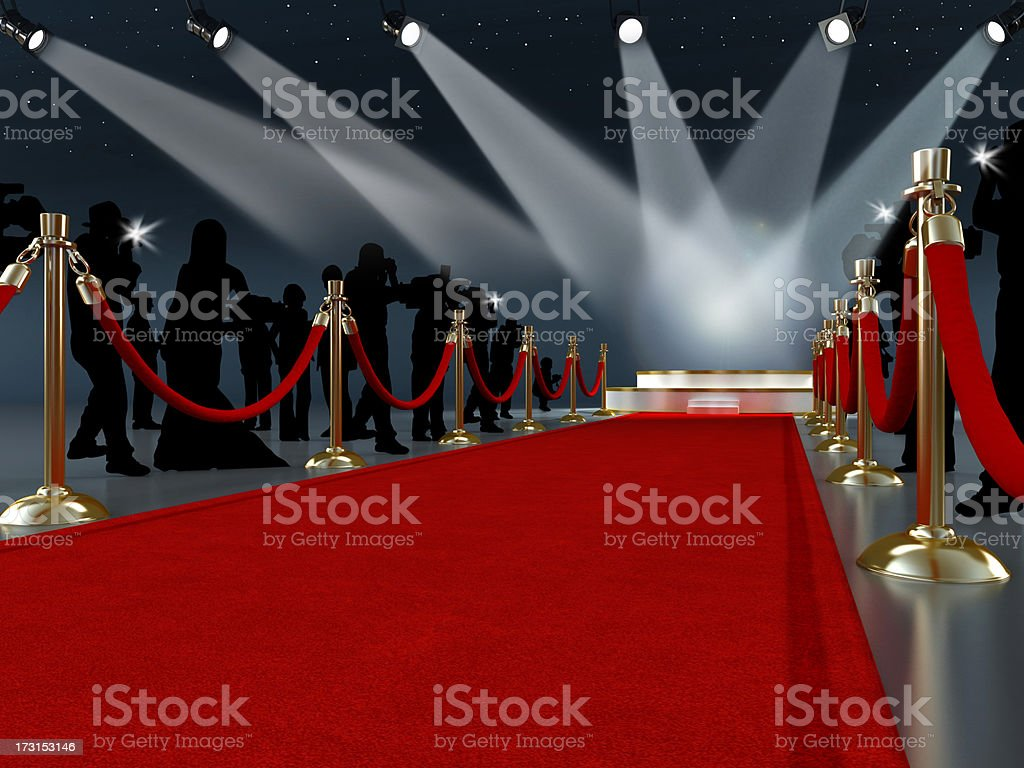 Red carpet leading to the stage stock photo