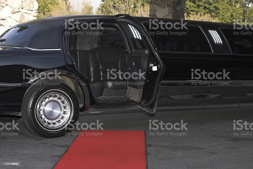 Red Carpet Limousine Waiting Style Glamor Rich Event Prom stock photo