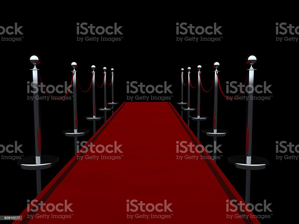 Red carpet on black background stock photo
