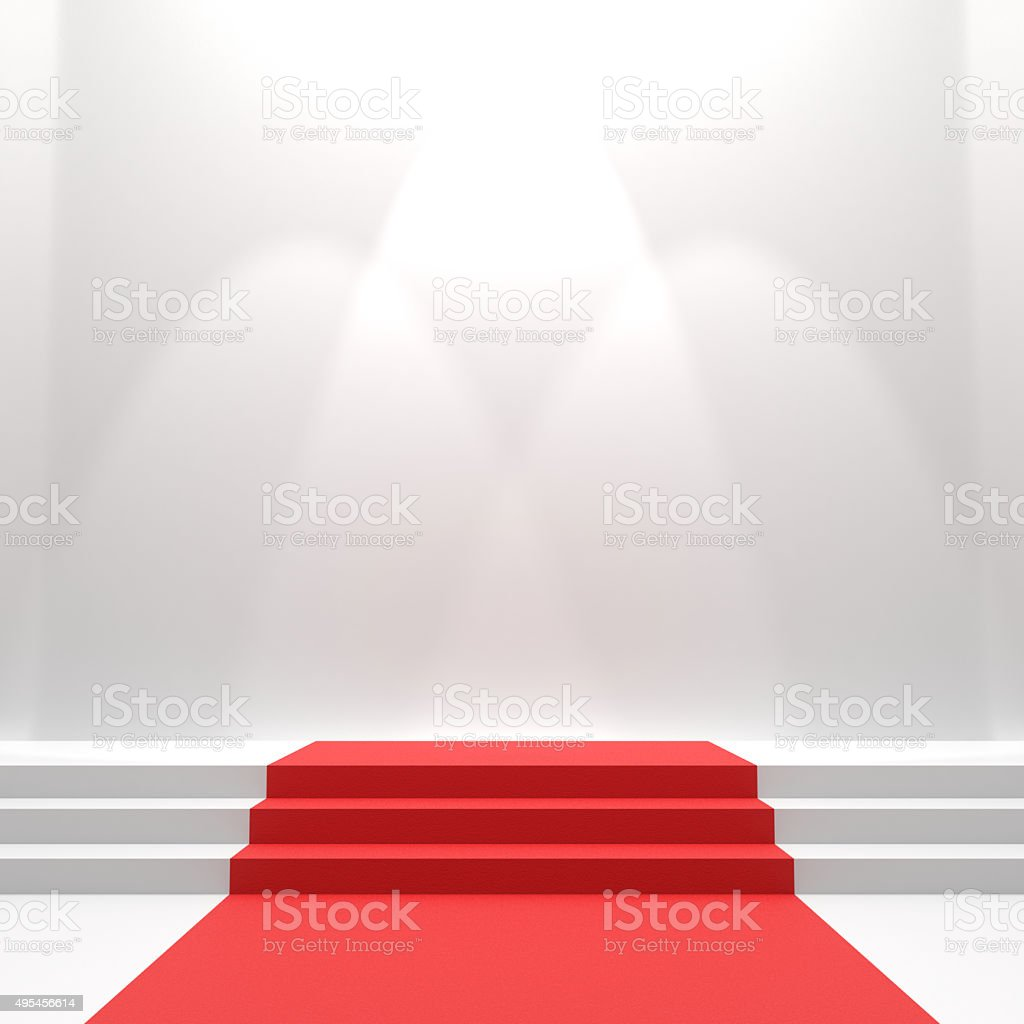 Red carpet on stairs stock photo