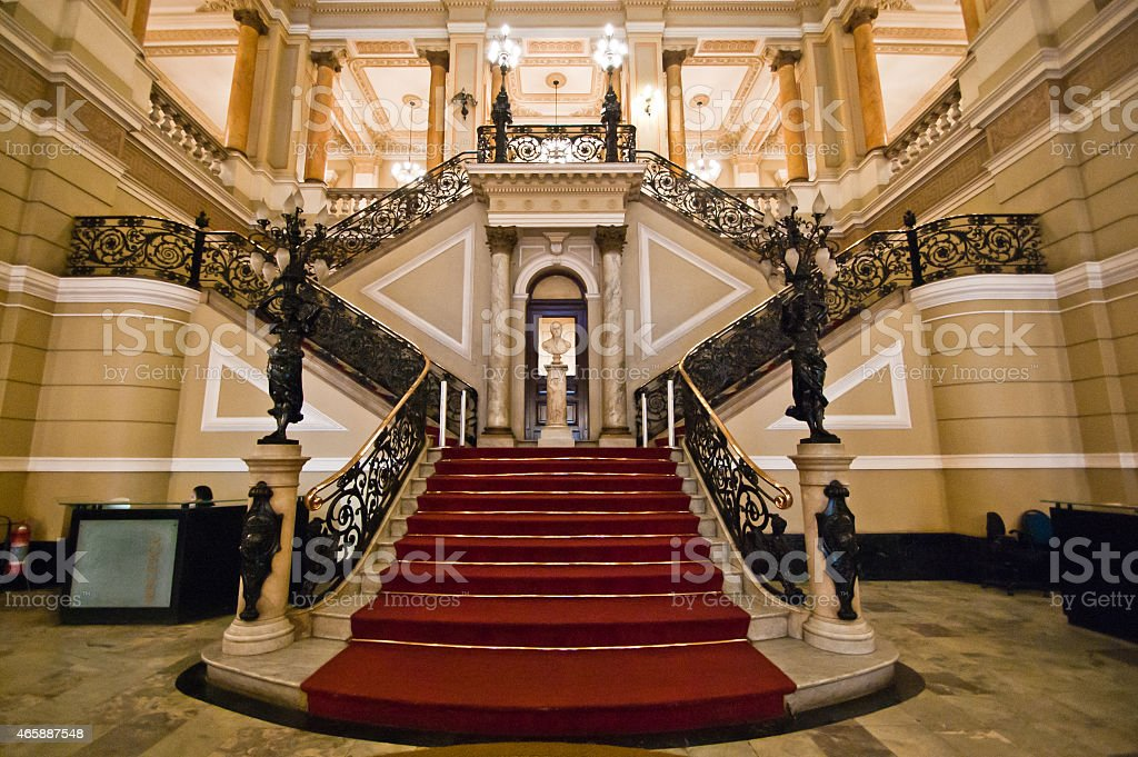 Red Carpet on Stairway stock photo