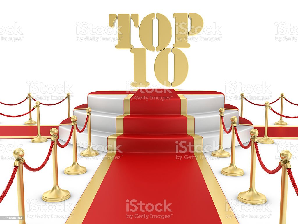 Red Carpet on the Stairs and TOP 10 stock photo