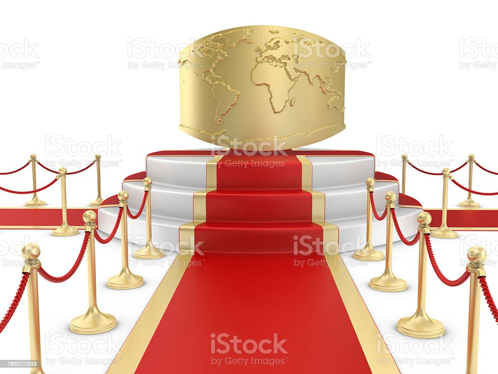 Red Carpet on the Stairs and World royalty-free stock photo