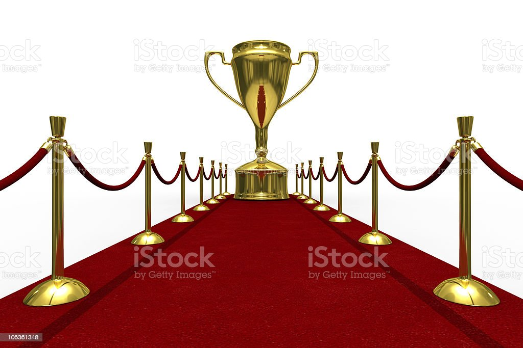 Red carpet on white background. Isolated 3D image royalty-free stock photo
