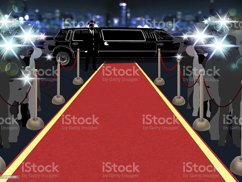Red carpet, photographers, driver and a luxury car stock photo