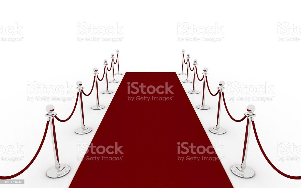 Red carpet - second view (silver) stock photo