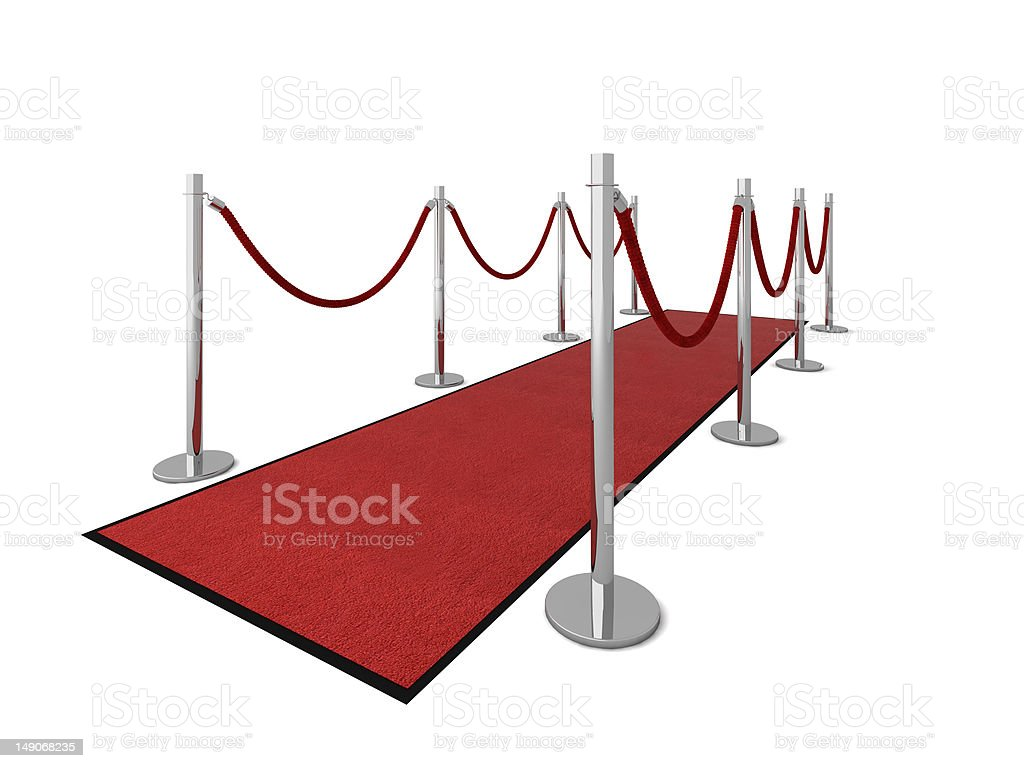 VIP red carpet - Side view stock photo