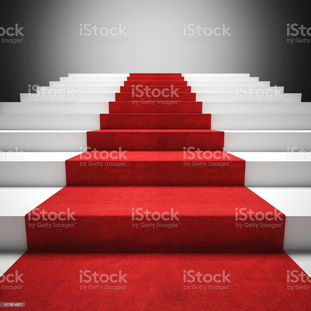 red carpet stair stock photo