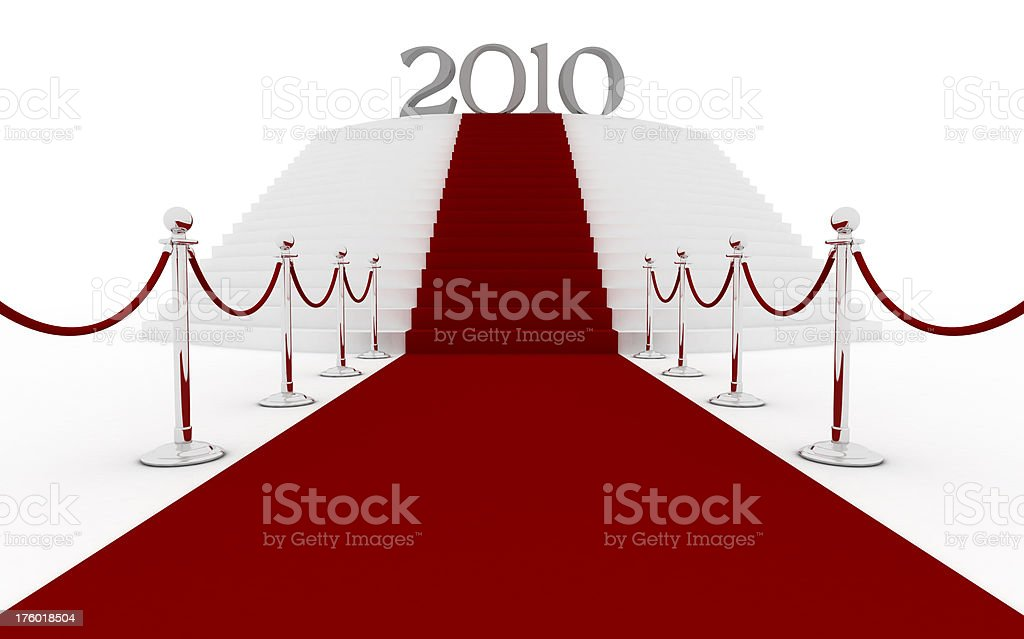 Red carpet - stairs to 2010 stock photo