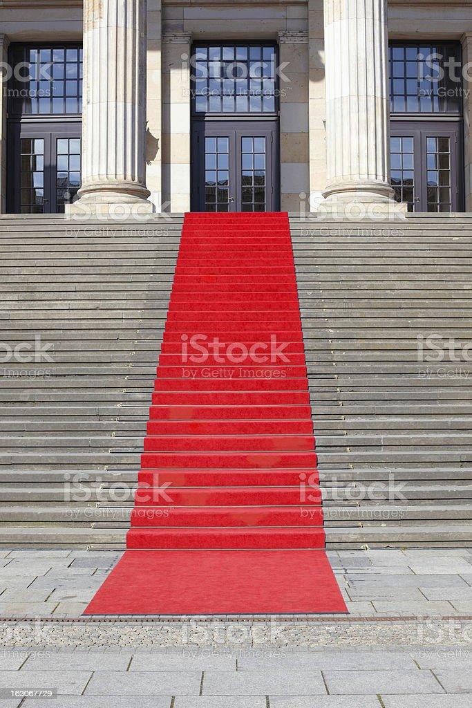 Red carpet stairway royalty-free stock photo