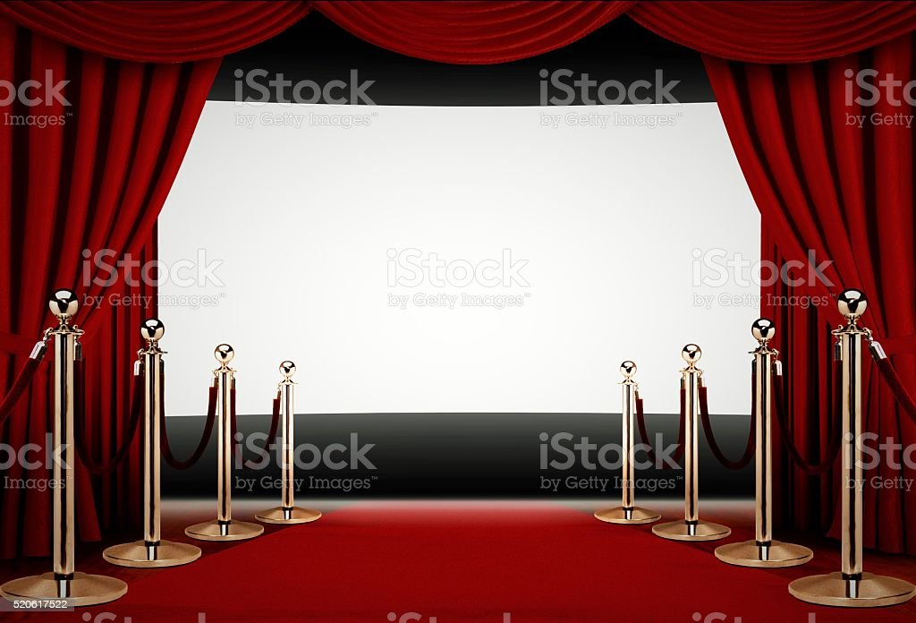 Red carpet to a movie premiere event stock photo