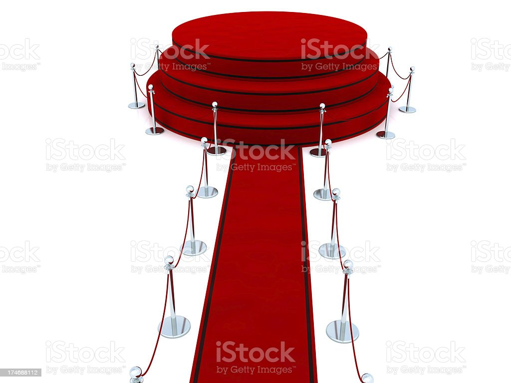 Red carpet to podium stock photo