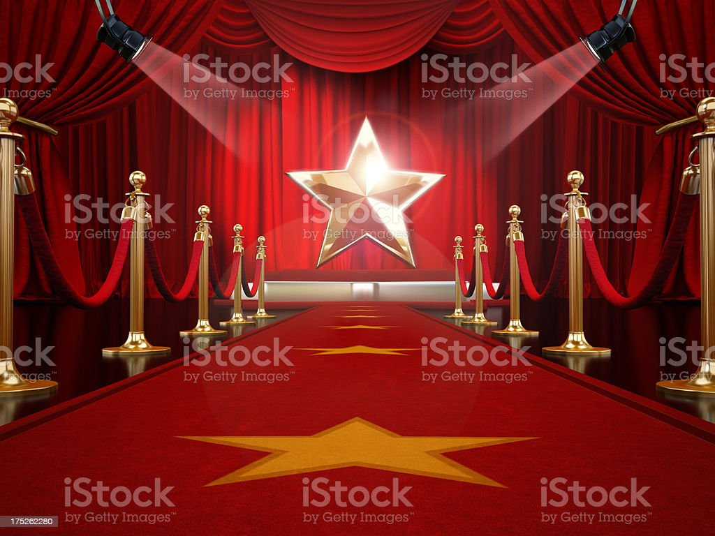 Red carpet to the stage royalty-free stock photo
