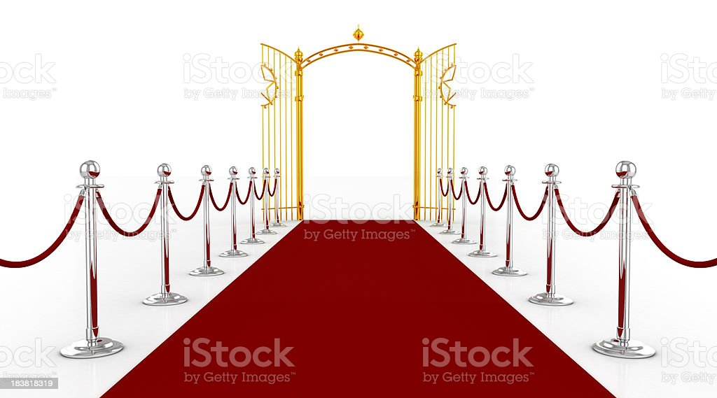 Red carpet with golden gate stock photo