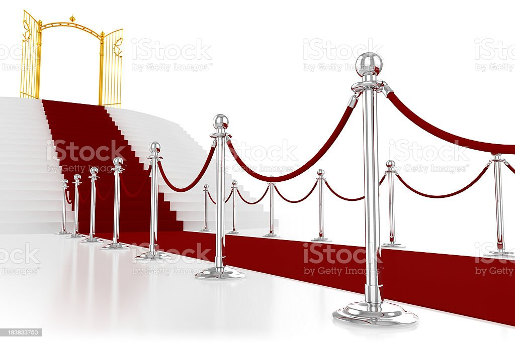 Red carpet with golden gate royalty-free stock photo