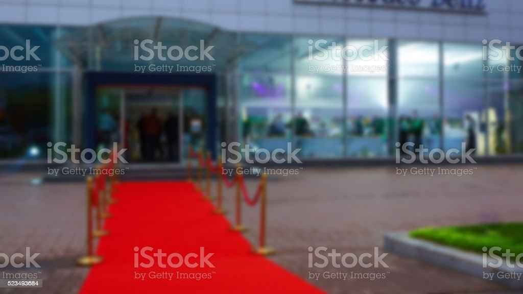 red carpet with the sides, blurred background stock photo