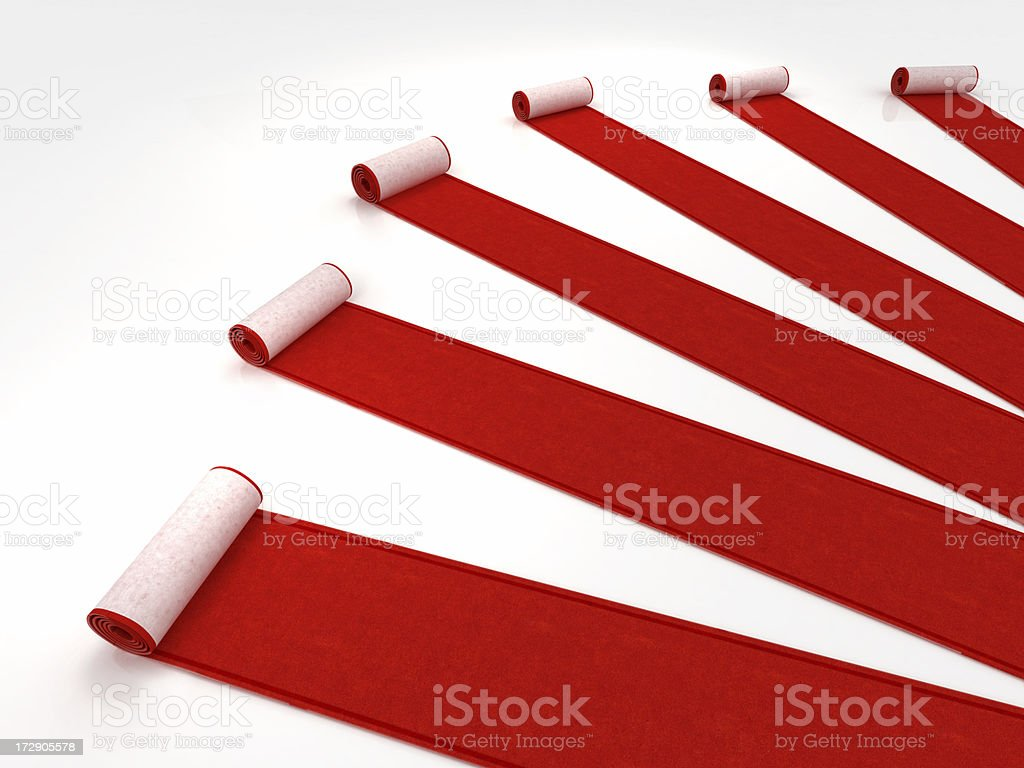 Red carpets rolling royalty-free stock photo