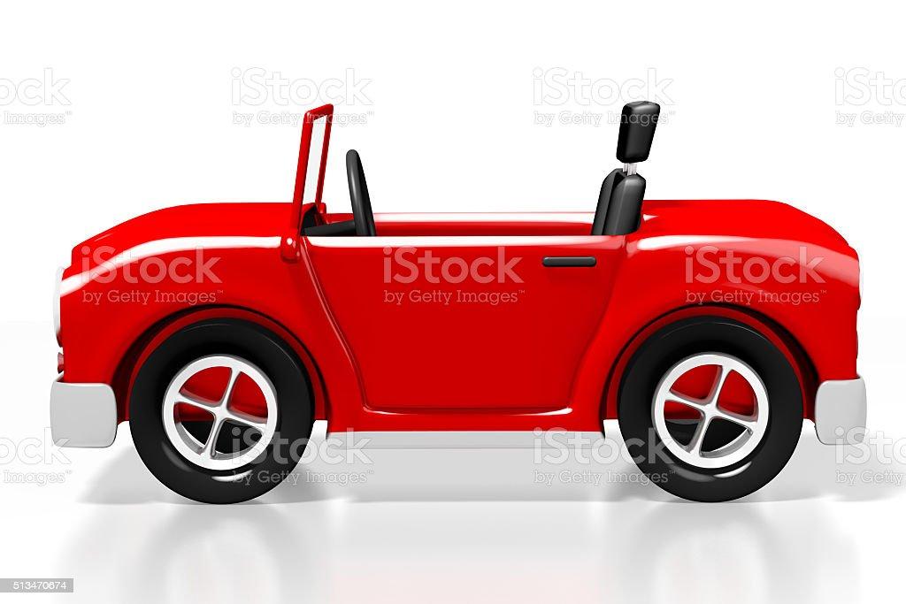 3D red cartoon car stock photo