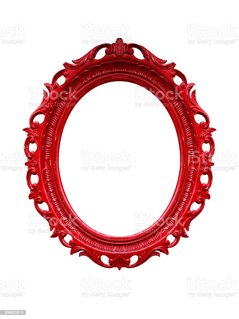 Red carved frame stock photo