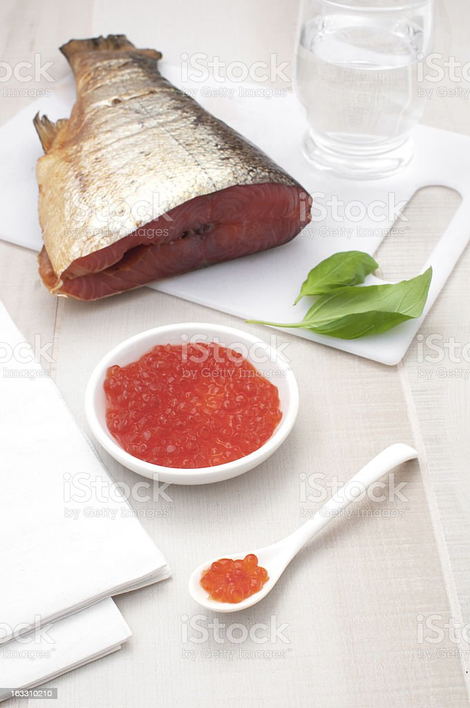 Red caviar and smoked salmon royalty-free stock photo