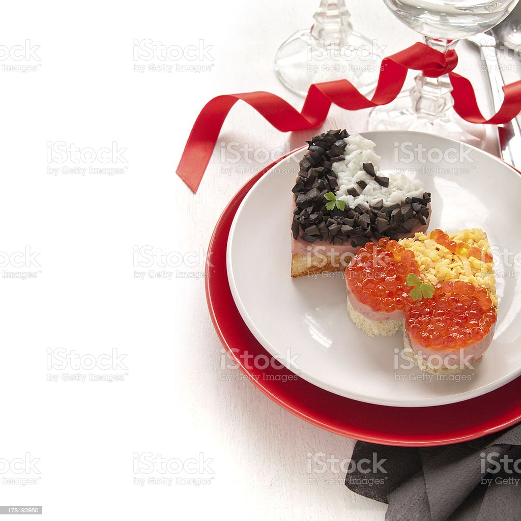 Red caviar on a sandwiches royalty-free stock photo