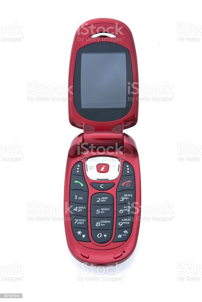 Red cell flip phone. stock photo