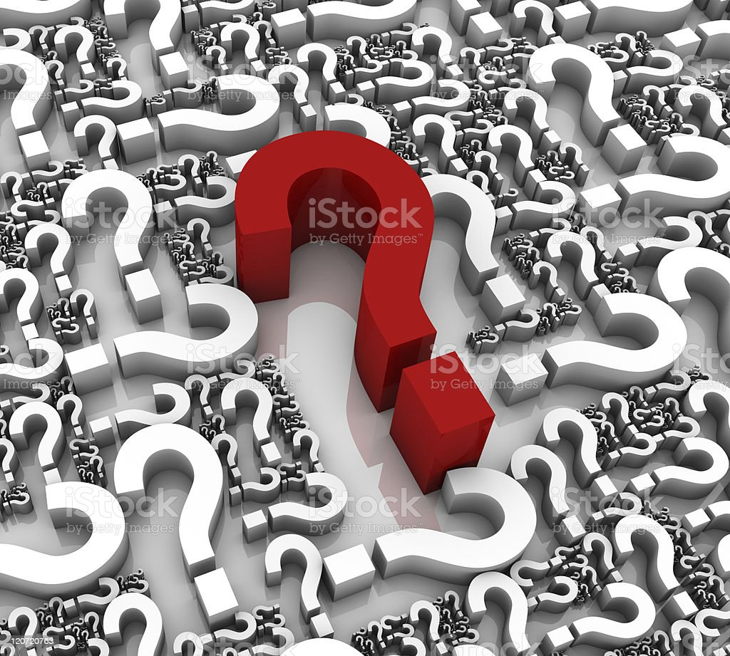 Red centralized large question mark amidst white ones royalty-free stock photo
