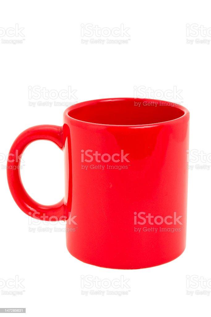 Red ceramic mug on white background royalty-free stock photo