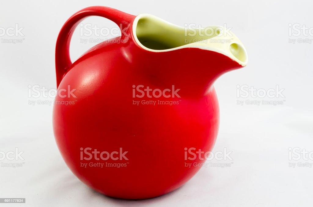 Red Ceramic pitcher stock photo