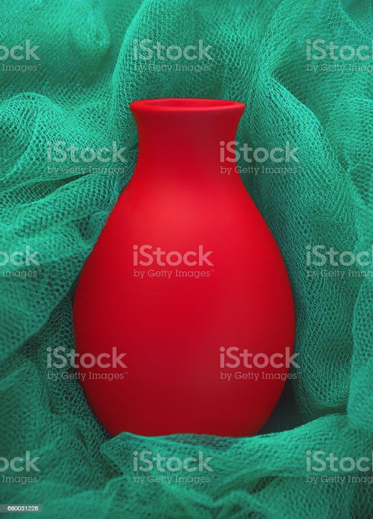Red Ceramic Vase Closeup stock photo