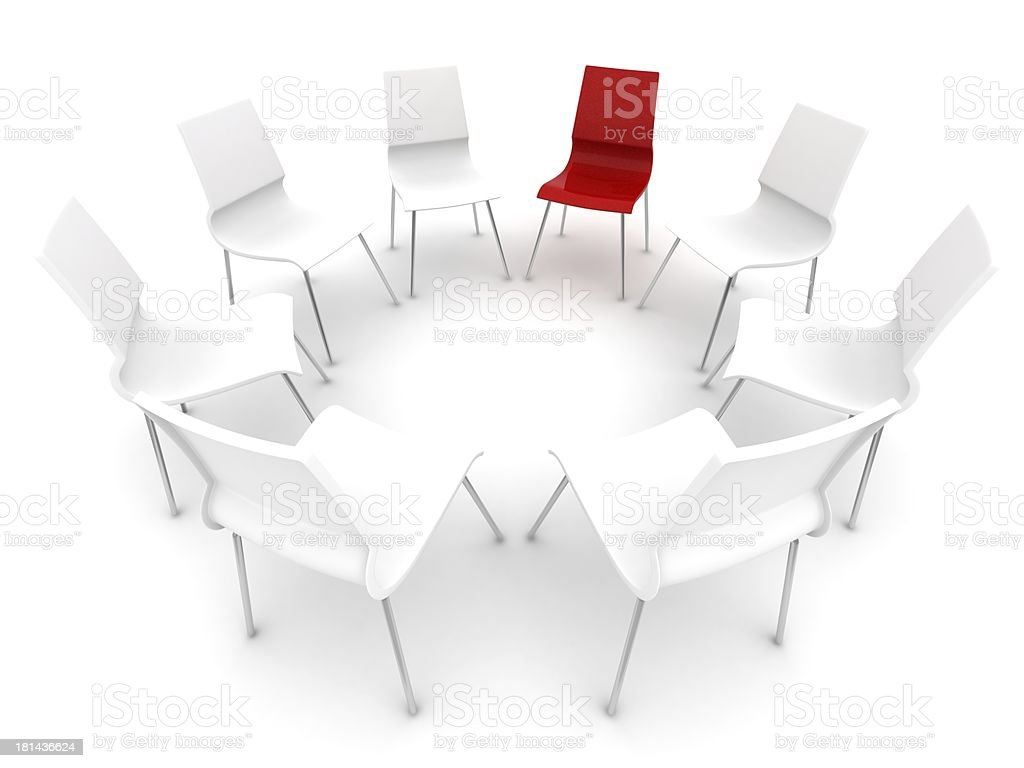 red chair in a circle with white chairs royalty-free stock photo