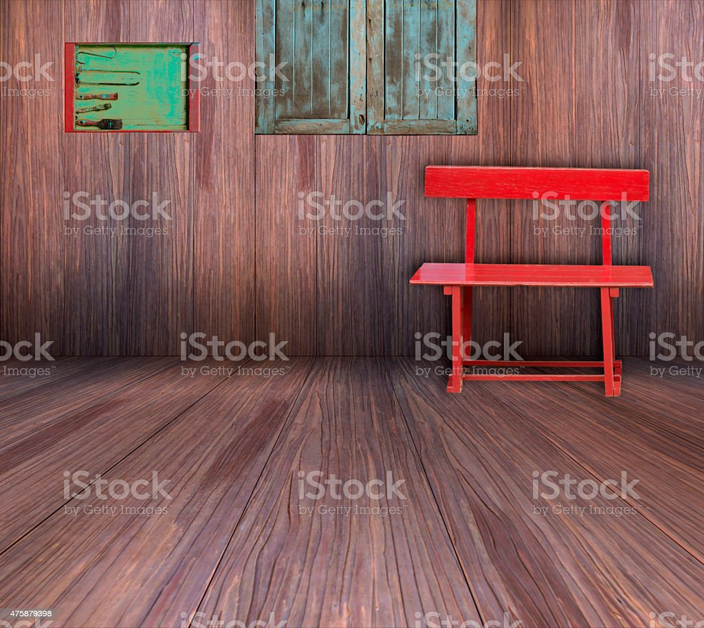 Red chair in old wooden room. royalty-free stock photo