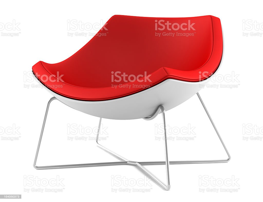 red chair isolated on white background stock photo