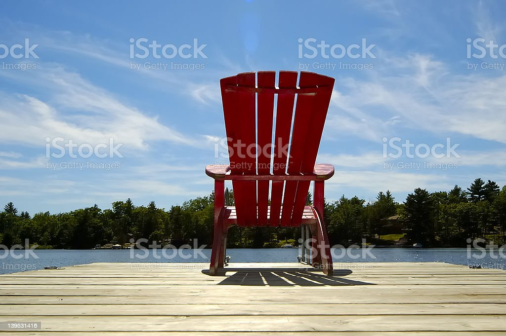 Red Chair On Deck Horizontal stock photo