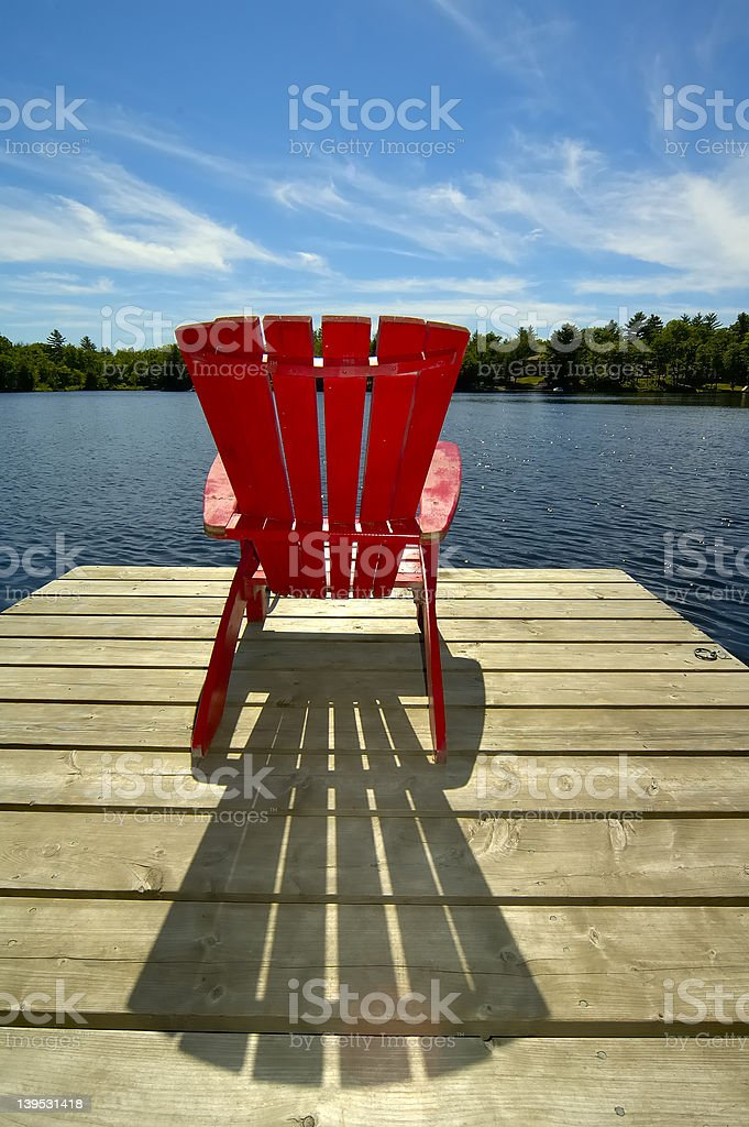 Red Chair On Deck Vertical stock photo