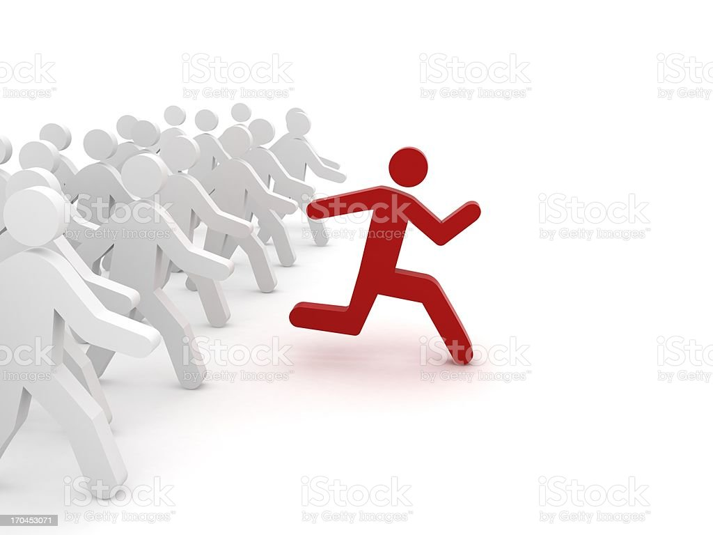 Red character running ahead of a group stock photo