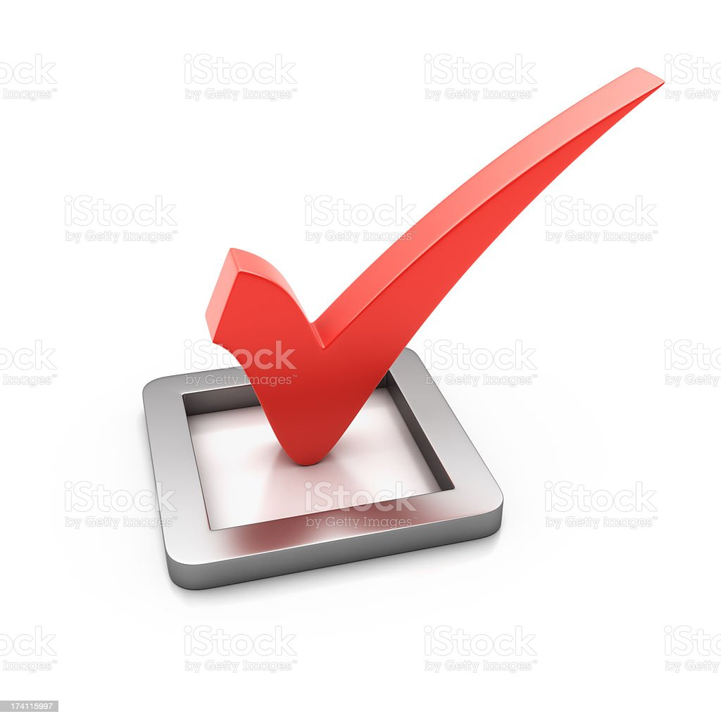 A 3D red check mark on a white background stock photo